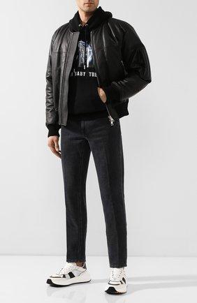 Мужские кожаные кроссовки BOTTEGA VENETA черно-белого цвета, арт. 565646/VJE21 | Фото 2