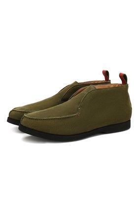 Мужские кожаные ботинки KITON хаки цвета, арт. USSFLYN00138 | Фото 1