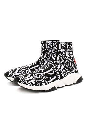 Мужские текстильные кроссовки speed BALENCIAGA черно-белого цвета, арт. 593617/W1791 | Фото 1