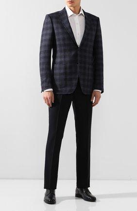 Мужские шерстяные брюки RALPH LAUREN темно-синего цвета, арт. 798730107 | Фото 2 (Материал внешний: Шерсть; Материал подклада: Вискоза; Случай: Формальный; Стили: Классический)