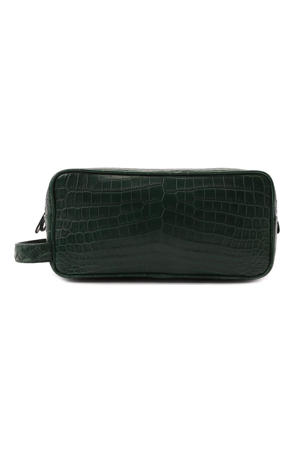 Мужской несессер из кожи крокодила BOTTEGA VENETA зеленого цвета, арт. 248716/V912K/CNIL | Фото 1 (Материал: Экзотическая кожа)