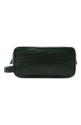 Мужской несессер из кожи крокодила BOTTEGA VENETA зеленого цвета, арт. 248716/V912K/CNIL | Фото 1