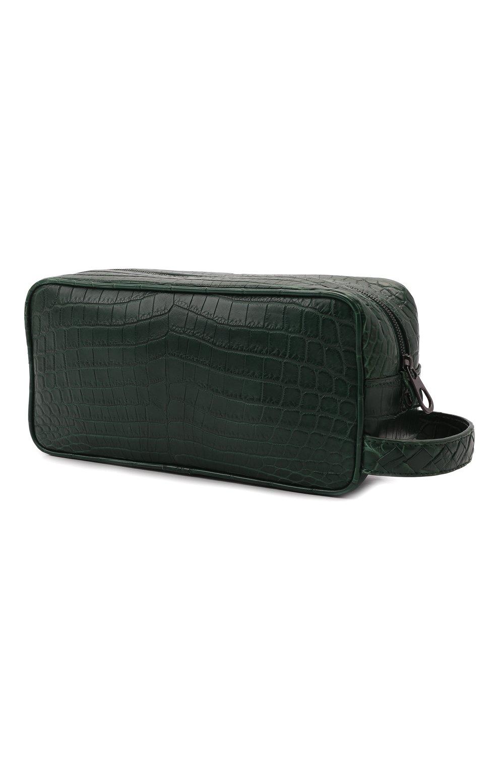 Мужской несессер из кожи крокодила BOTTEGA VENETA зеленого цвета, арт. 248716/V912K/CNIL | Фото 2 (Материал: Экзотическая кожа)