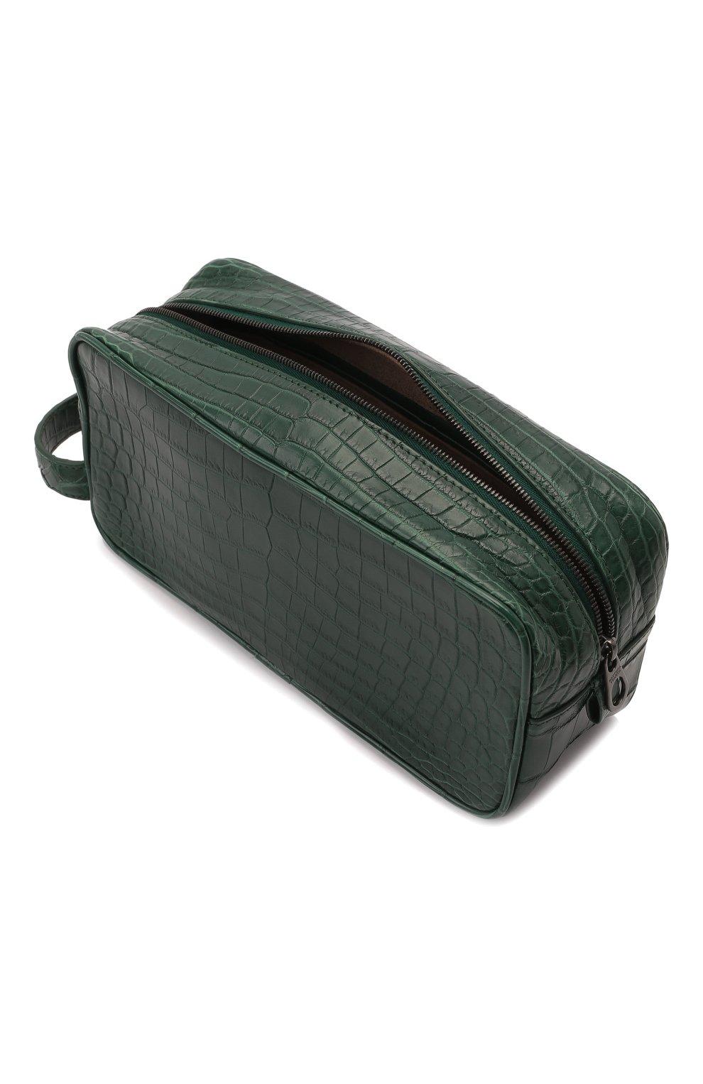Мужской несессер из кожи крокодила BOTTEGA VENETA зеленого цвета, арт. 248716/V912K/CNIL | Фото 3 (Материал: Экзотическая кожа)