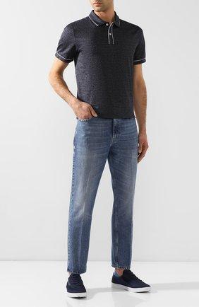 Мужские текстильные кеды ORLEBAR BROWN темно-синего цвета, арт. 270275 | Фото 2