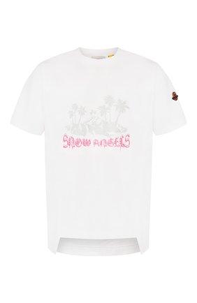 Мужская хлопковая футболка 8 moncler palm angels MONCLER GENIUS белого цвета, арт. E2-09L-80032-50-829FK | Фото 1