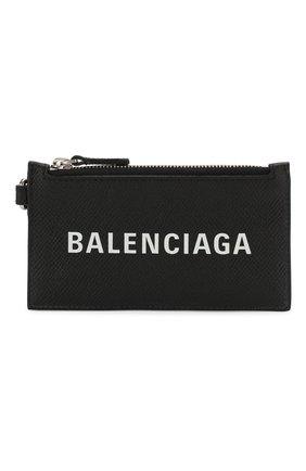 Мужской кожаный футляр для кредитных карт BALENCIAGA черно-белого цвета, арт. 594548/00TV3 | Фото 1
