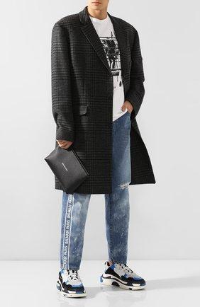 Мужская кожаный клатч cash BALENCIAGA черно-белого цвета, арт. 593815/1FU33 | Фото 2