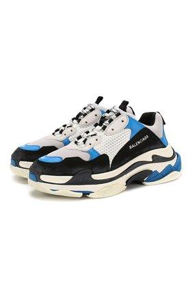 Мужские комбинированные кроссовки triple s BALENCIAGA синего цвета, арт. 536737/W090H   Фото 1