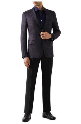 Мужская хлопковая сорочка RALPH LAUREN темно-синего цвета, арт. 791769934 | Фото 2