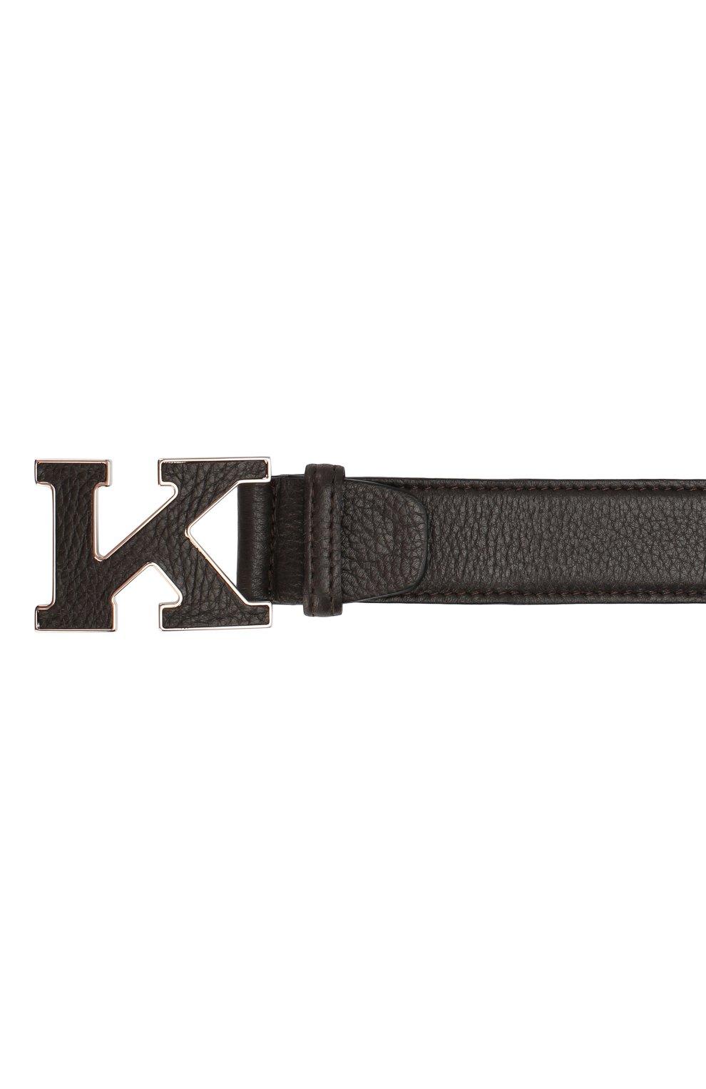 Мужской кожаный ремень KITON коричневого цвета, арт. USC20PN00126   Фото 3