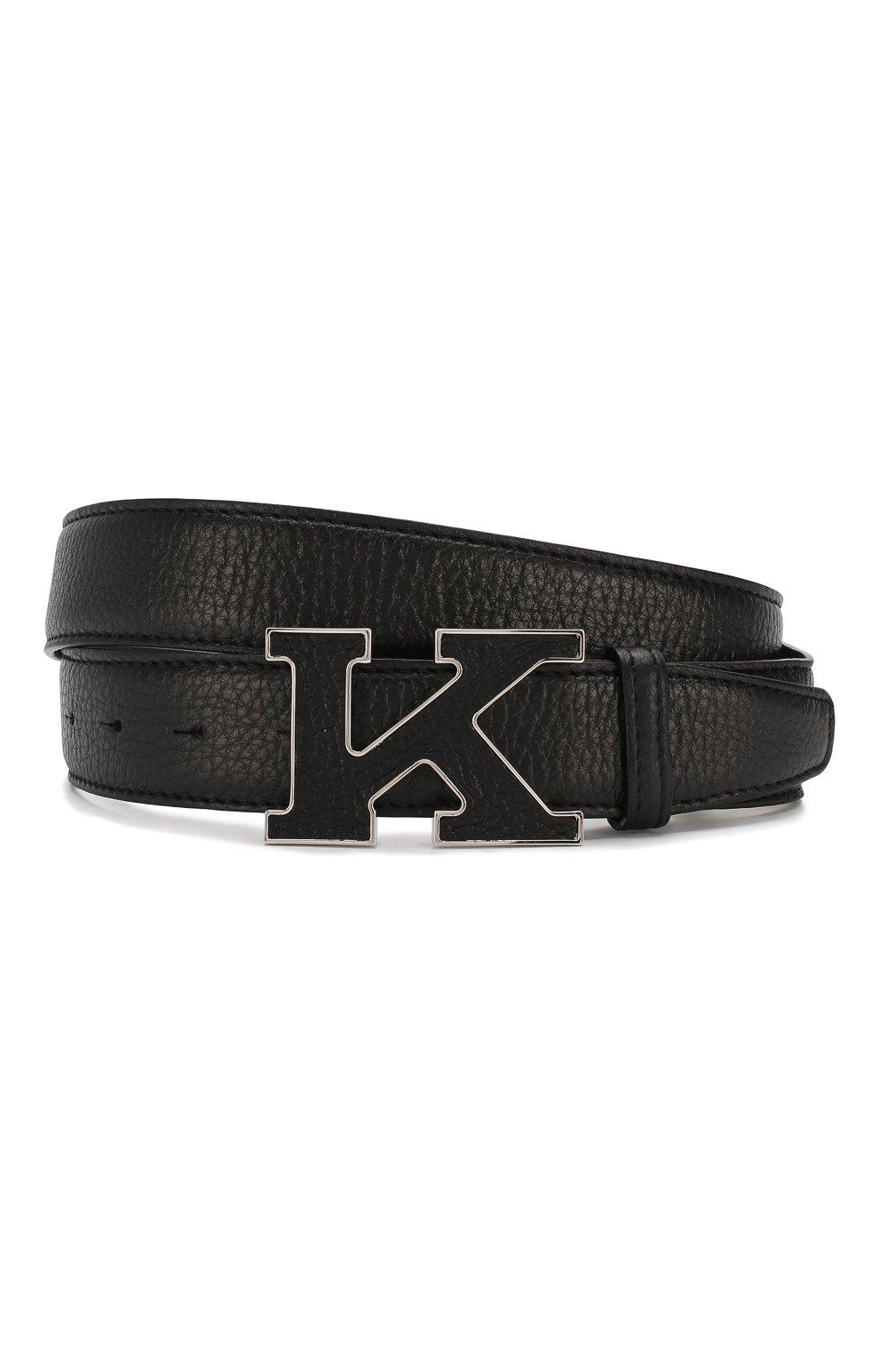 Мужской кожаный ремень KITON черного цвета, арт. USC20PN00126   Фото 1