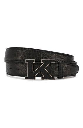 Мужской кожаный ремень KITON черного цвета, арт. USC20PN00126 | Фото 1