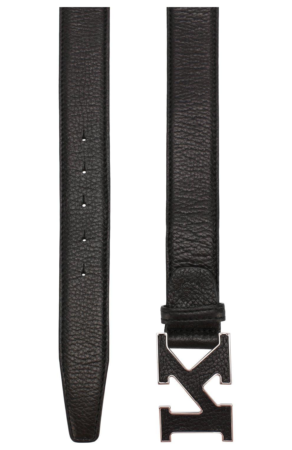 Мужской кожаный ремень KITON черного цвета, арт. USC20PN00126   Фото 2