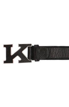Мужской кожаный ремень KITON черного цвета, арт. USC20PN00126   Фото 3