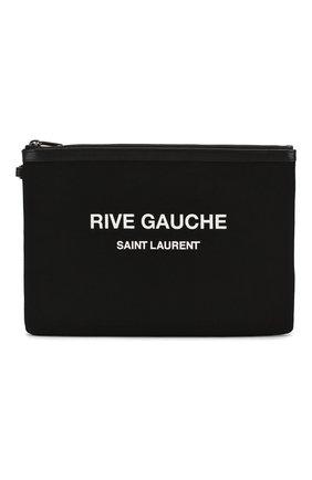 Мужская текстильный футляр для документов SAINT LAURENT черно-белого цвета, арт. 581369/96NAD | Фото 1
