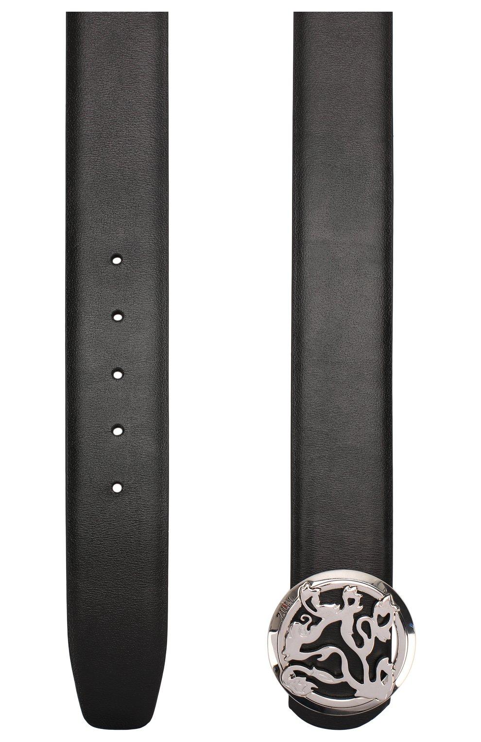 Мужской кожаный ремень ZILLI черного цвета, арт. MJL-CLAQE-01030/0035/120-130 | Фото 2