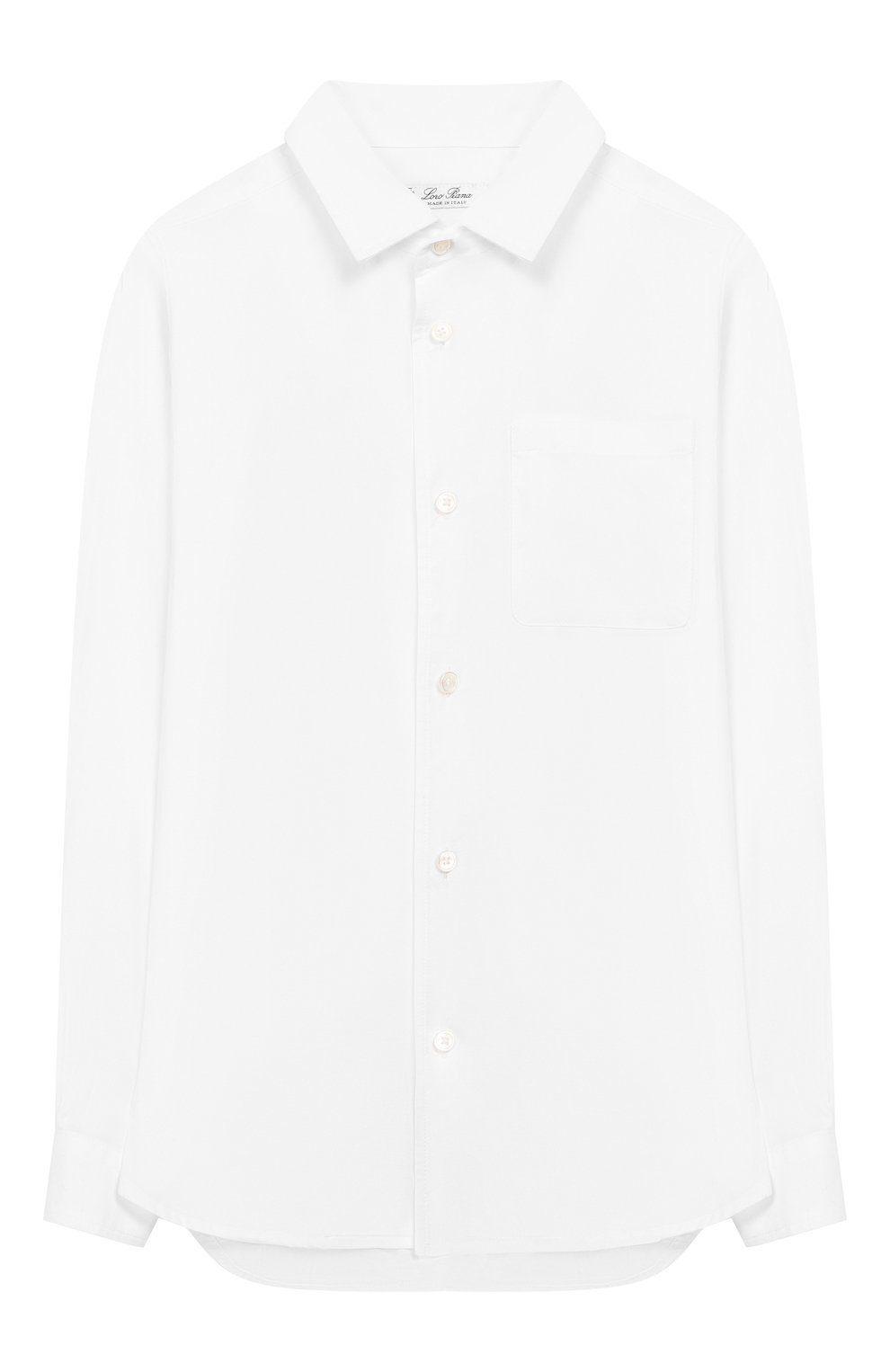 Детская хлопковая рубашка LORO PIANA белого цвета, арт. FAI6973 | Фото 1