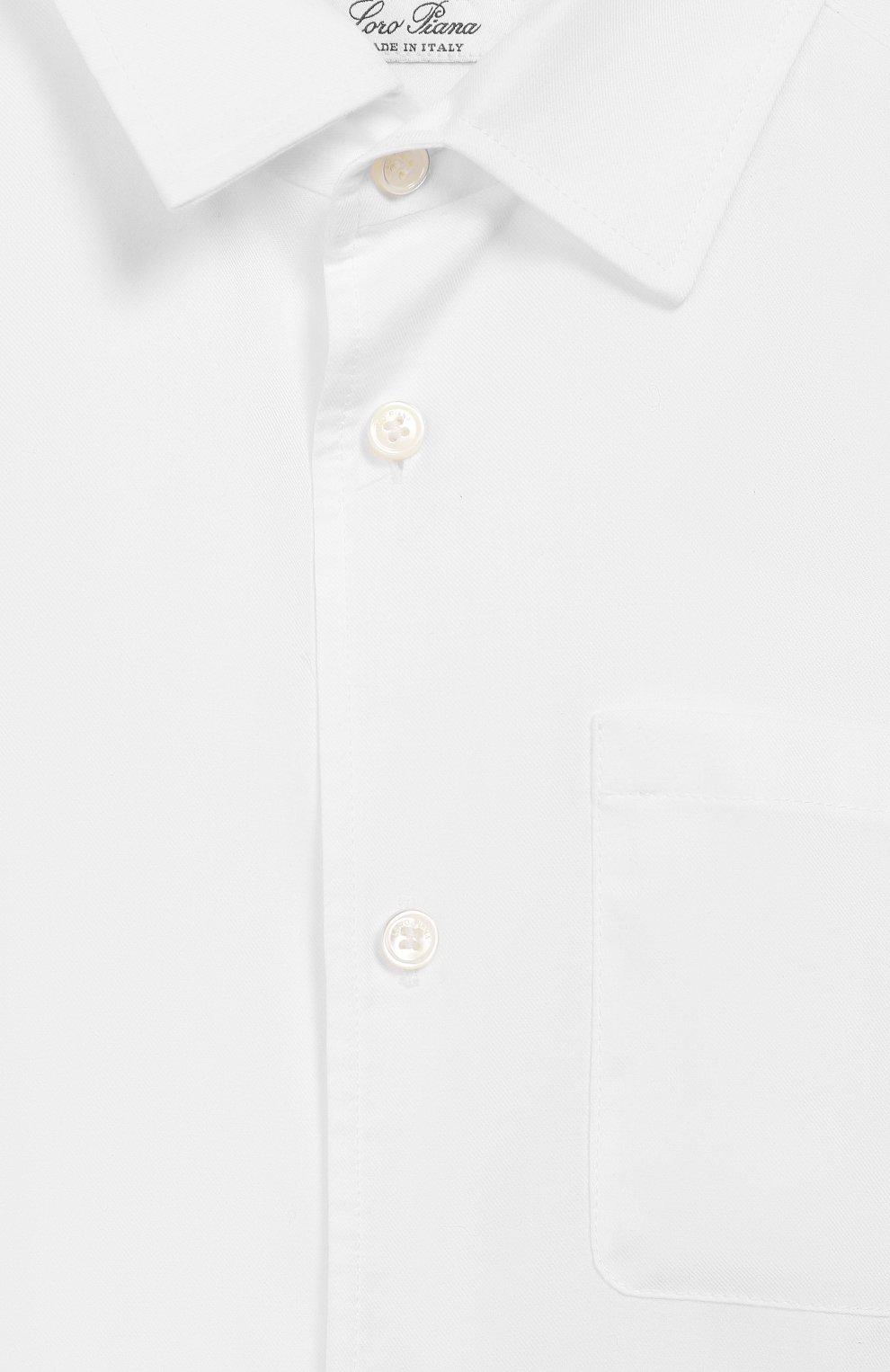 Детская хлопковая рубашка LORO PIANA белого цвета, арт. FAI6973 | Фото 3