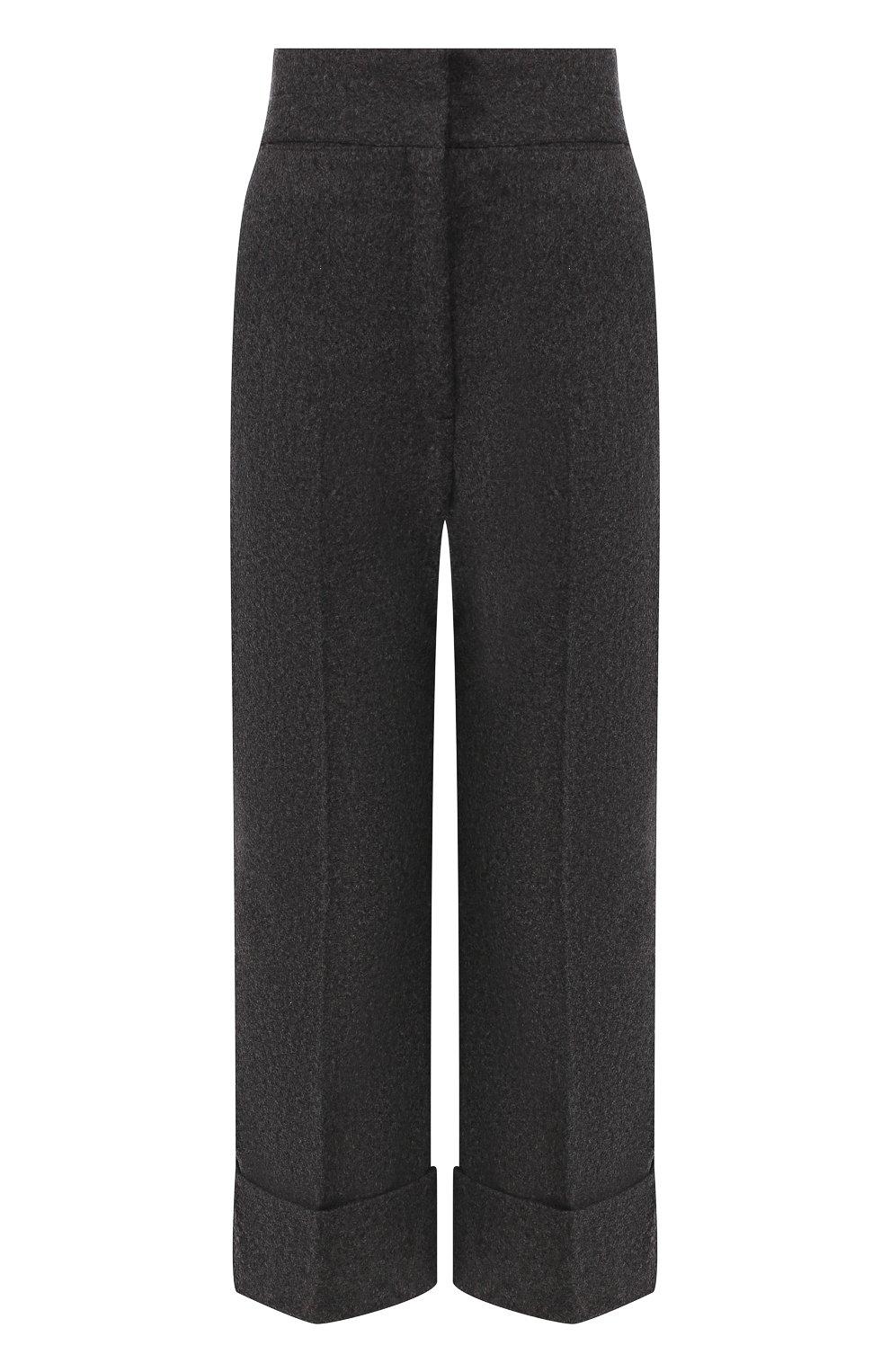 Женские шерстяные брюки LEMAIRE темно-серого цвета, арт. W 193 PA261 LF393 | Фото 1 (Материал внешний: Шерсть; Женское Кросс-КТ: Брюки-одежда; Материал подклада: Синтетический материал; Длина (брюки, джинсы): Укороченные; Статус проверки: Проверена категория)