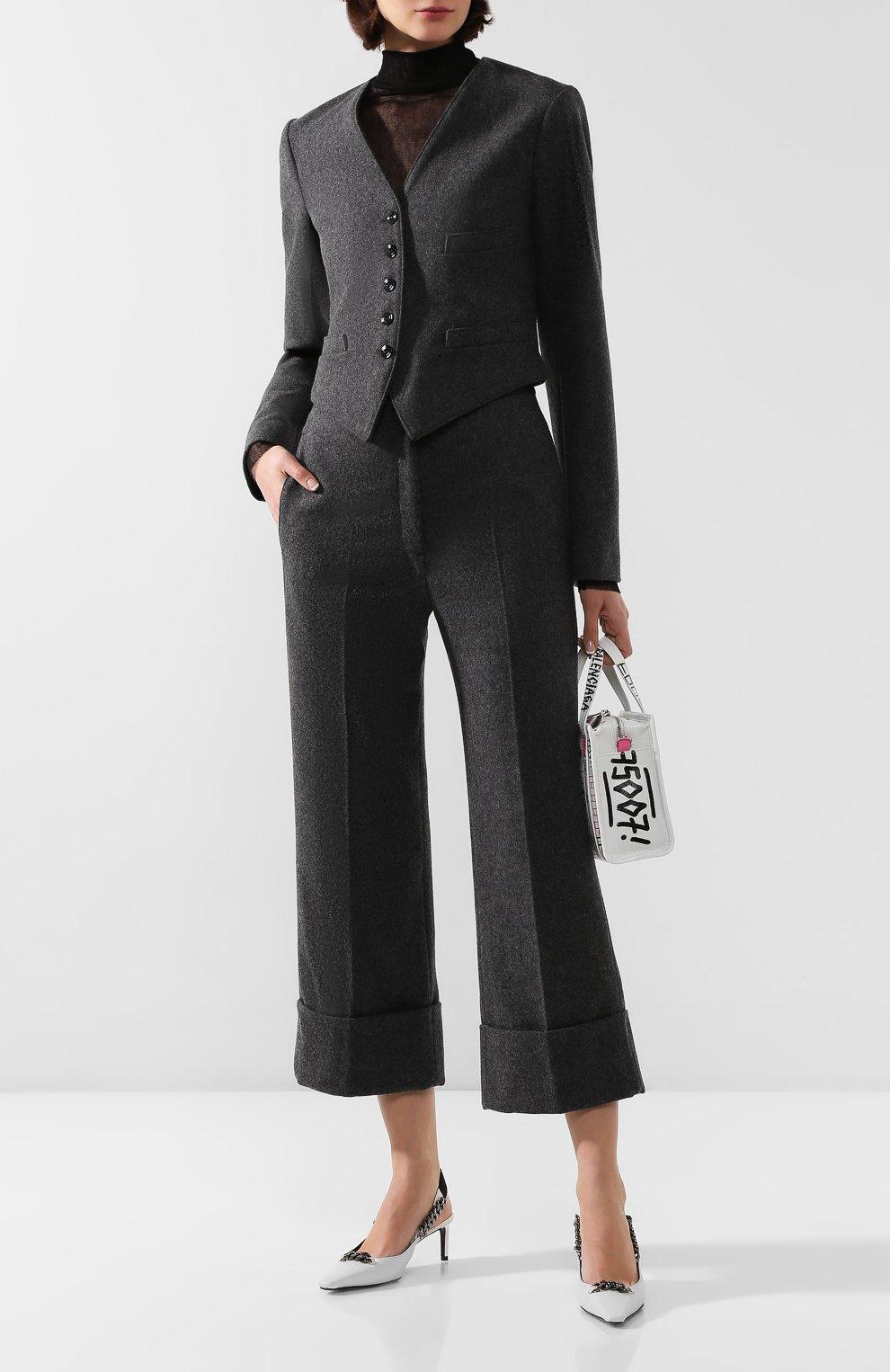 Женские шерстяные брюки LEMAIRE темно-серого цвета, арт. W 193 PA261 LF393 | Фото 2 (Материал внешний: Шерсть; Женское Кросс-КТ: Брюки-одежда; Материал подклада: Синтетический материал; Длина (брюки, джинсы): Укороченные; Статус проверки: Проверена категория)