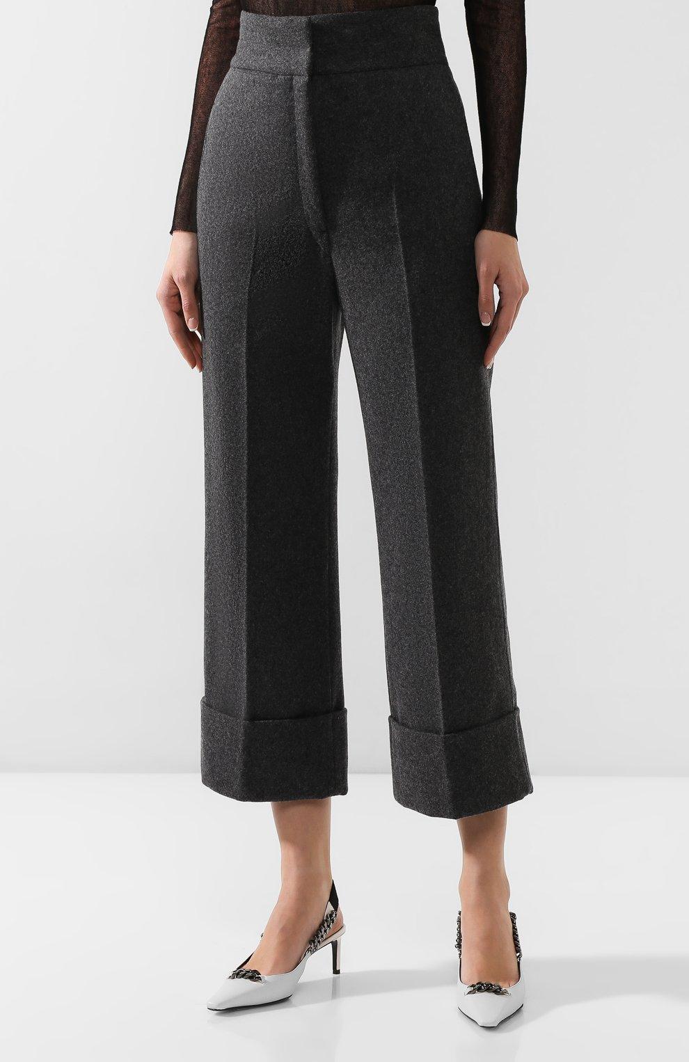 Женские шерстяные брюки LEMAIRE темно-серого цвета, арт. W 193 PA261 LF393 | Фото 3 (Материал внешний: Шерсть; Женское Кросс-КТ: Брюки-одежда; Материал подклада: Синтетический материал; Длина (брюки, джинсы): Укороченные; Статус проверки: Проверена категория)