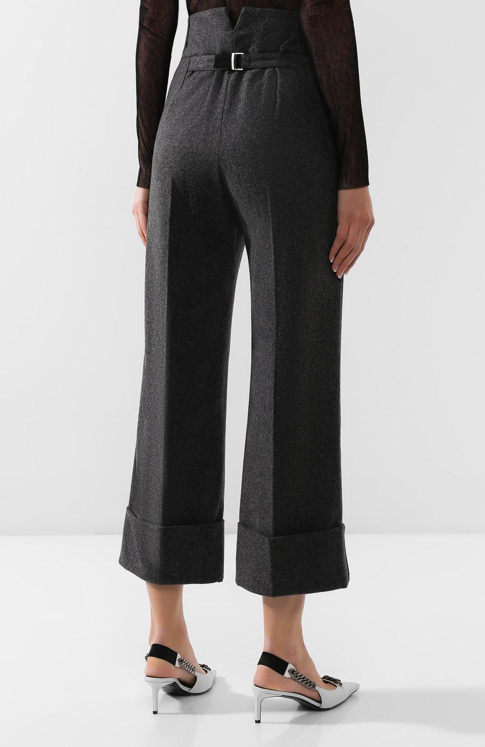 Женские шерстяные брюки LEMAIRE темно-серого цвета, арт. W 193 PA261 LF393 | Фото 4 (Материал внешний: Шерсть; Женское Кросс-КТ: Брюки-одежда; Материал подклада: Синтетический материал; Длина (брюки, джинсы): Укороченные; Статус проверки: Проверена категория)