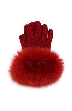 Женские кашемировые перчатки с мехом лисицы LORO PIANA красного цвета, арт. FAF9556 | Фото 1