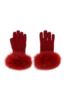 Женские кашемировые перчатки с мехом лисицы LORO PIANA красного цвета, арт. FAF9556 | Фото 2