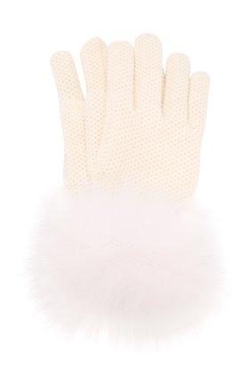 Женские кашемировые перчатки с мехом лисицы LORO PIANA белого цвета, арт. FAF9556 | Фото 1