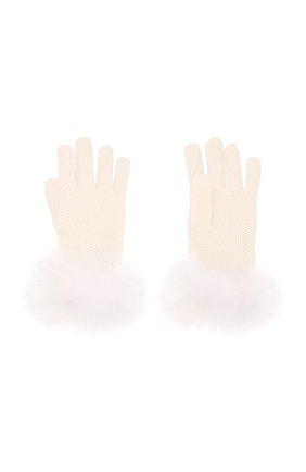 Женские кашемировые перчатки с мехом лисицы LORO PIANA белого цвета, арт. FAF9556 | Фото 2