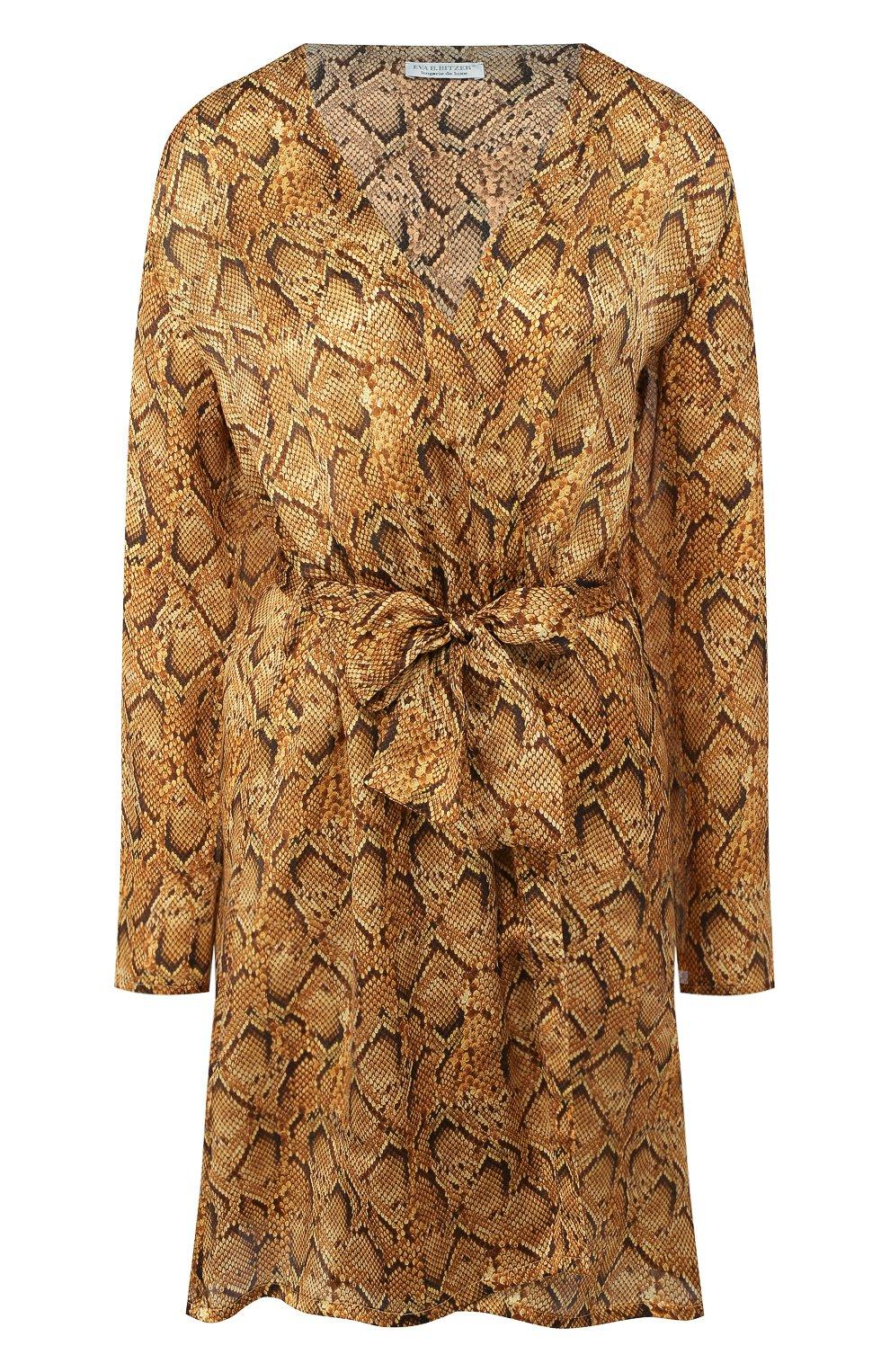 Женский шелковый халат EVA B.BITZER золотого цвета, арт. 29312963   Фото 1