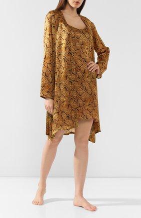 Женский шелковый халат EVA B.BITZER золотого цвета, арт. 29312963 | Фото 2