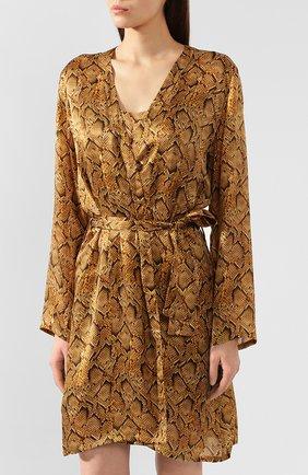 Женский шелковый халат EVA B.BITZER золотого цвета, арт. 29312963   Фото 3