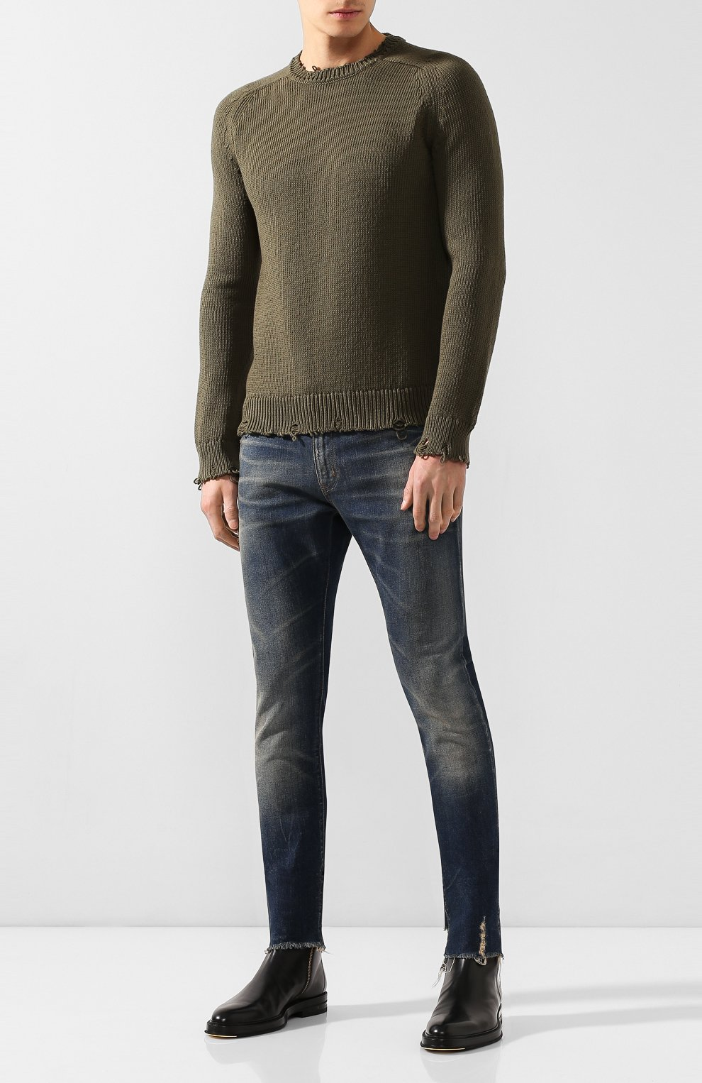 Мужские джинсы SAINT LAURENT синего цвета, арт. 602817/YD993 | Фото 2