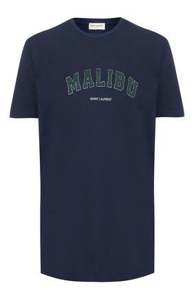 Мужская хлопковая футболка SAINT LAURENT темно-синего цвета, арт. 603280/YBPX2 | Фото 1