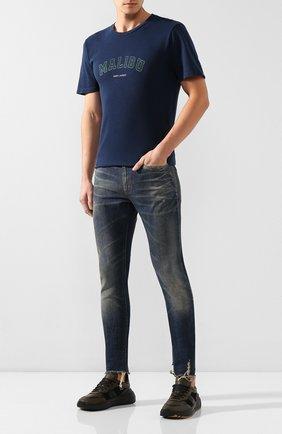 Мужская хлопковая футболка SAINT LAURENT темно-синего цвета, арт. 603280/YBPX2 | Фото 2