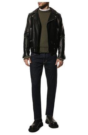 Мужской хлопковый свитер SAINT LAURENT хаки цвета, арт. 604798/YAL02 | Фото 2 (Длина (для топов): Стандартные; Материал внешний: Хлопок; Принт: Без принта; Стили: Гранж; Рукава: Длинные; Мужское Кросс-КТ: Свитер-одежда)