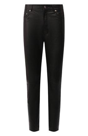 Мужской кожаные брюки SAINT LAURENT черного цвета, арт. 605147/YC2MA | Фото 1