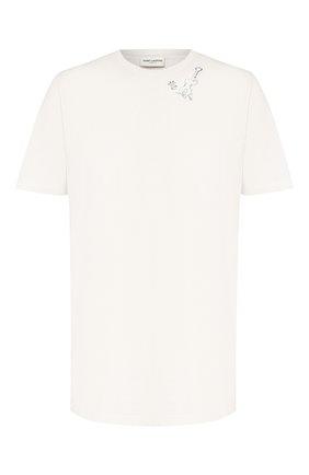 Мужская хлопковая футболка SAINT LAURENT белого цвета, арт. 605249/YBQJ2 | Фото 1