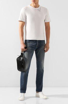 Мужская хлопковая футболка SAINT LAURENT белого цвета, арт. 605249/YBQJ2 | Фото 2