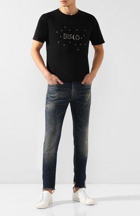 Мужская хлопковая футболка SAINT LAURENT черного цвета, арт. 605360/YBQB2 | Фото 2