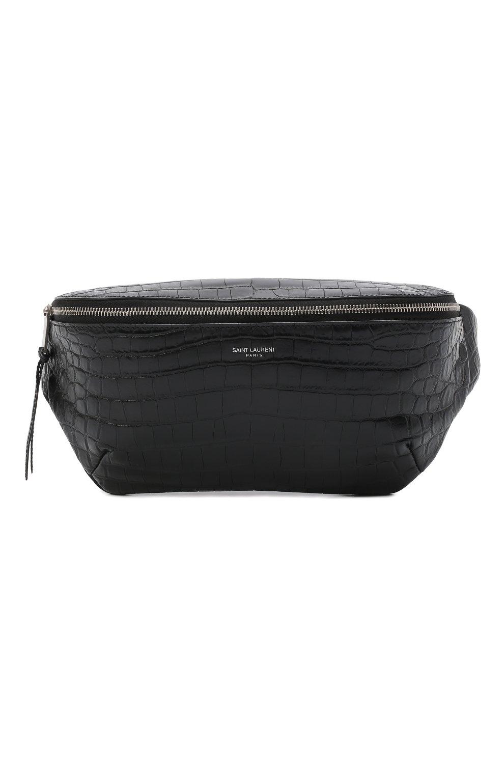 Мужская кожаная поясная сумка SAINT LAURENT черного цвета, арт. 505671/DZEKE | Фото 1