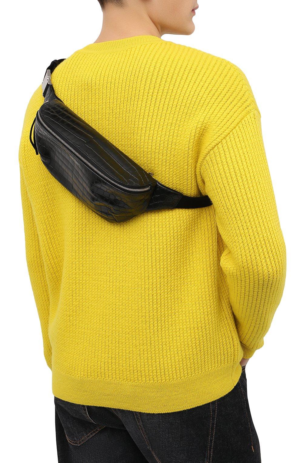 Мужская кожаная поясная сумка SAINT LAURENT черного цвета, арт. 505671/DZEKE | Фото 2