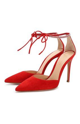 Женская замшевые туфли GIANVITO ROSSI красного цвета, арт. G40112.15RIC.CAMTABS | Фото 1