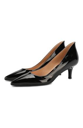 Женские кожаные туфли GIANVITO ROSSI черного цвета, арт. G21625.55RIC.VERNER0   Фото 1