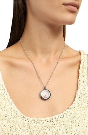 Женская кулон на цепочке HYPSO серебряного цвета, арт. L0CKET MEDIUM 3 CHARMS SILVER C0L0R   Фото 2