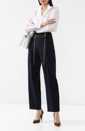Женские шерстяные брюки OSCAR DE LA RENTA темно-синего цвета, арт. 20RE323BIS | Фото 2