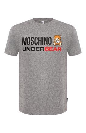 Мужские хлопковая футболка MOSCHINO серого цвета, арт. A1914/8103   Фото 1