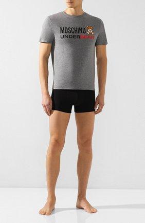 Мужские хлопковая футболка MOSCHINO серого цвета, арт. A1914/8103   Фото 2